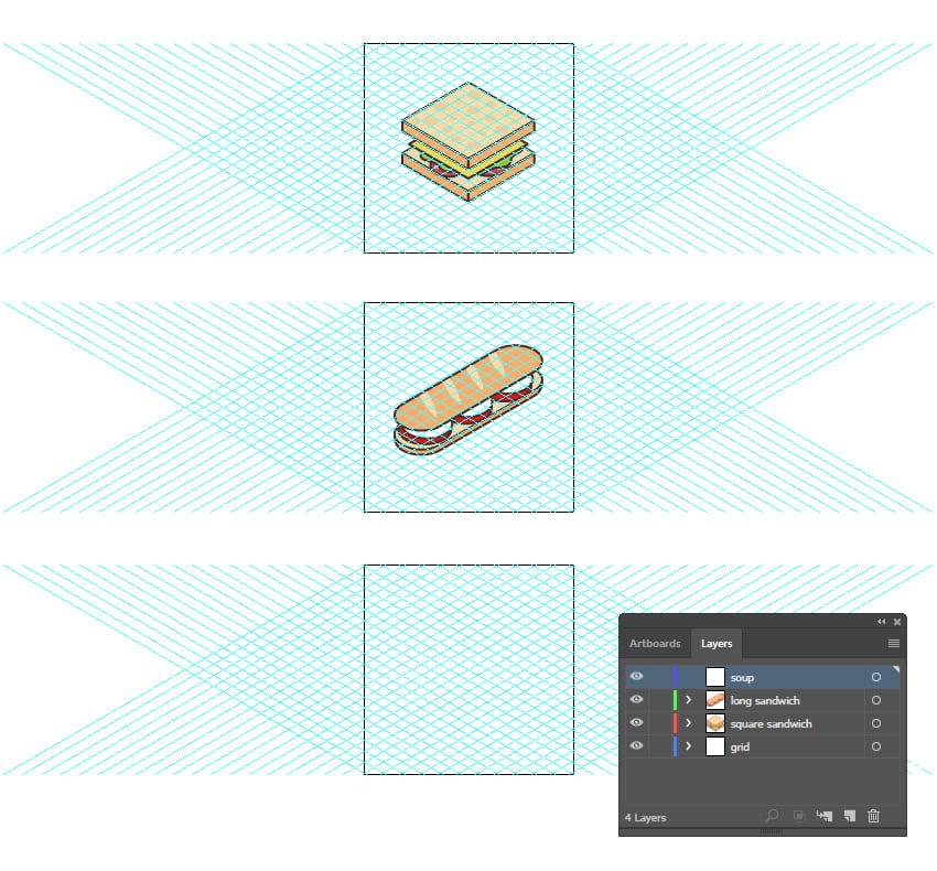 Изометрические иконки еды